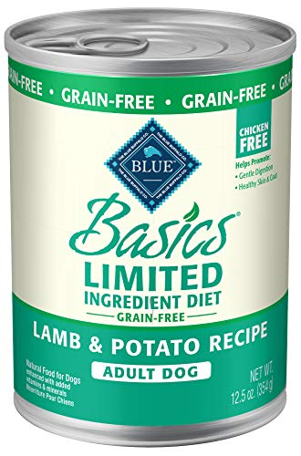 Blue Buffalo Basics Limited Ingredient Diet, Grain Free Natural Adult Wet Dog Food, Lamb 12.5-oz cans (Pack of 12)