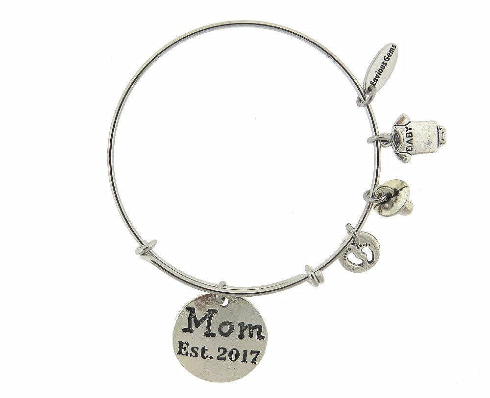 Envious Gems Mom Established EST 2017 Silver Tone Expandable Wire Bracelet
