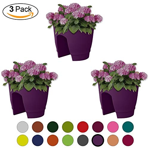 (ALMI Balcony Deck Rail Planter Box with Drainage Trays, 12 Inch [3 Pack] Bloomers Railing Round Pot, Drainage Holes, Weatherproof Resin Planter, Indoor & Outdoor, Purple)