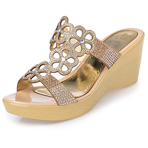- MAIERNISI JESSI Women's Flowers Bling Rhinestone Crystal Platform Wedge Mid Heels Slide Sandals Golden 41 - US 9