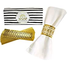 Premium Napkin Rings Set of 24 for Table Settings Decoration, Dinner Parties, Weddings, Special Events and Catering Services (Gold, 24 pieces)