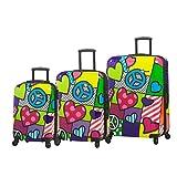 Mia Toro Peace and Love Luggage 3 Piece Set, Contemporary