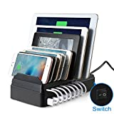 Multiple Device Charging Station(60W) 8-Port USB Desktop Charger On/Off Switch by MAIYUAN