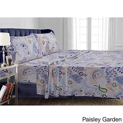 D&H 4 Piece Blue Yellow Green Paisley Floral Pattern Cal King Sheet Set, Beautiful Motif Flowers Design Bedding, Features Extra Deep Pocket, Soft & Warm Feel, Heavy Weight Cotton Flannel