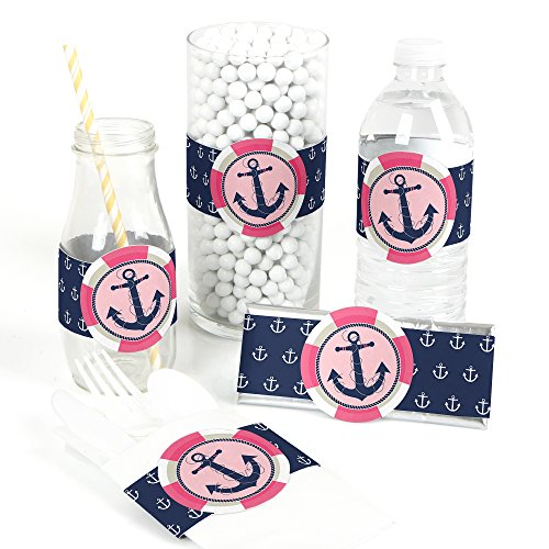 (Ahoy - Nautical Girl - DIY Party Supplies - Baby Shower or Birthday Party DIY Wrapper Favors & Decorations - Set of 15)