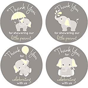 2 Inch Thank You Stickers Gray Elephant Labels Set of 60 (Yellow)