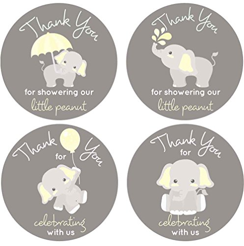 2 Inch Thank You Stickers Gray Elephant Labels Set of 60 (Yellow) (Baby Shower Party Favors Yellow)
