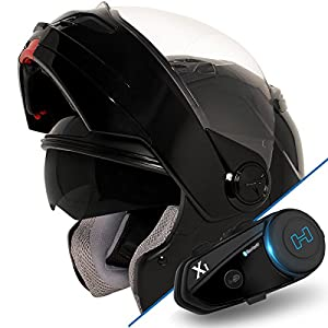Hawk ST-1198 Transition 2 in 1 Glossy Black Modular Helmet with Hawk X1 Black B - 2X-Large w/ X1 Bluetooth