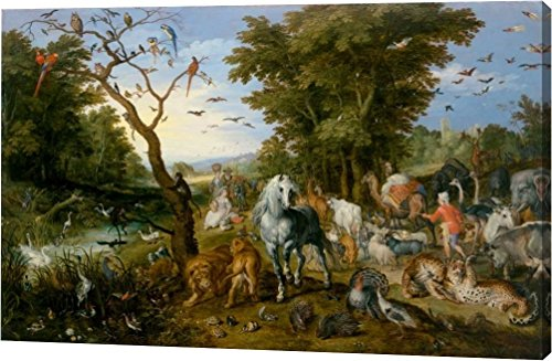 The Entry of the Animals into Noahs Ark by Jan Brueghel the Elder - 21''x32'' Gallery Wrapped Giclee Canvas Art Print - Ready to Hang by Canvas Art USA
