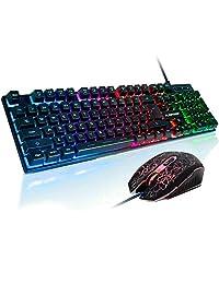 FLAGPOWER Rainbow - Teclado y ratón con retroiluminación LED para jugar y jugar con 3 retroiluminación LED ajustables