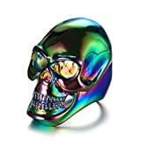 Bishilin Men's Rings Stainless Steel Skull High Polished Rings Multicolor Size 12