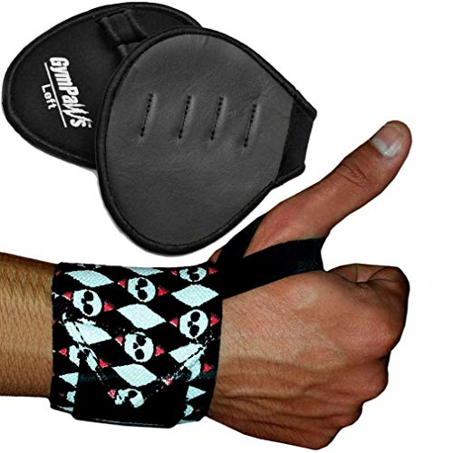 Wrist Wraps Weightlifting - Professional Grade w/Thumb Loops - Support for Men/Women Weight Lifting, Powerlifting, Strength Training (Combo Pack 1 Pair Leather Grips, 1 Pair Skull Wrist Wrap)