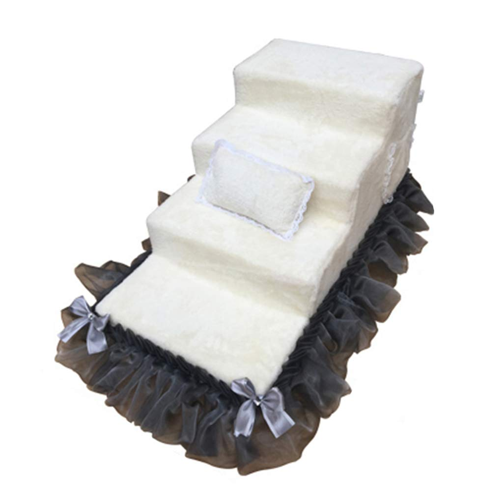 Qz Doggie Steps For Small Dogs 4 Step 40cm High White, Sponge Suede Pet Dog Cat Step Stool For Bed Sofa