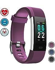 WOWGO Fitness Armband,Farbbildschirm Fitness Tracker Schrittzähler Sportuhr IP68 Wasserdichtes Smart Armband Pedometer mit Herzfrequenzmesser 14 Sportmodi für Android IOS