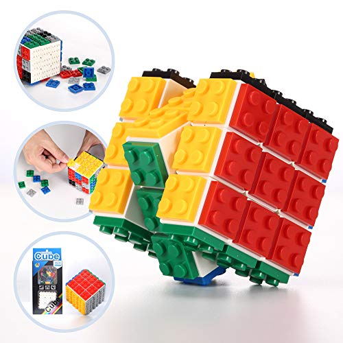 OleOletOy 3x3 Speed Magic Cube Compatible with Building Blocks and Bricks, Fidget STEM Toy and Brain Teaser for Adults, Teens and Kids, Fun and Smooth Turning 3x3x3 Puzzle
