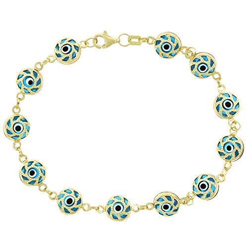 14k Yellow Gold Womens 8mm Multi-Color Fancy Evil Eye Good Luck Charm Bracelet Chain 7.5'' by In Style Designz