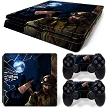 ZoomHit Ps4 Slim Playstation 4 Slim Console Skin Decal Sticker Zombie Horror + 2 Controller Skins Set (Slim Only)