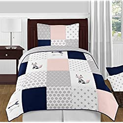 Sweet Jojo Designs 4-Piece Navy Blue, Pink, and Grey Patchwork Woodland Fox and Arrow Girl Twin Kid Childrens Bedding Comforter Set s