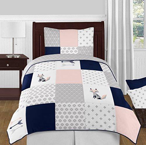 Sweet Jojo Designs 4-Piece Navy Blue, Pink, and Grey Patchwork Woodland Fox and Arrow Girl Twin Kid Childrens Bedding Comforter Set s