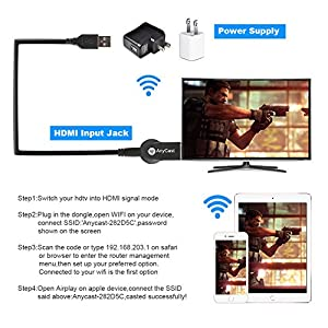 1080P HDMI Adapter Wireless Display,Miracast Dongle,Toneseas 2.4G Streaming Media Device Player,Mirroring Receiver TV Stick,Airplay DLNA for Iphone Ipad Macbook Samsung LG Android Smart Phones