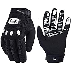 Seibertron Dirtpaw Unisex BMX MX ATV MTB Racing Mountain Bike Bicycle Cycling Off-road/Dirt bike Gloves Road Racing Motorcycle Motocross Sports Gloves Touch Recognition Full Finger Glove Black L