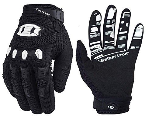 Seibertron Dirtpaw Unisex BMX MX ATV MTB Racing Mountain Bike Bicycle Cycling Off-Road/Dirt Bike Gloves Road Racing Motorcycle Motocross Sports Gloves Touch Recognition Full Finger Glove Black L (Best Bike Riding Gloves)
