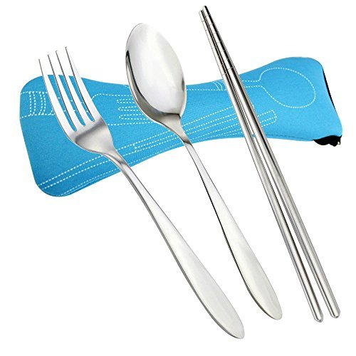 Verdental Portable Stainless Steel Utensil Set, 3-pieces Flatware includes Spoon Fork and Chopsticks (Light Blue)