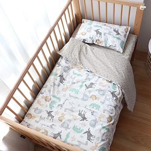 100% Cotton Crib Bedding Set for Toddler Boys Girls,3Pcs Include Duvet Cover,Fitted Sheet,Pillowcase, Baby Bed Linen,Nursery Decoration (Animals)