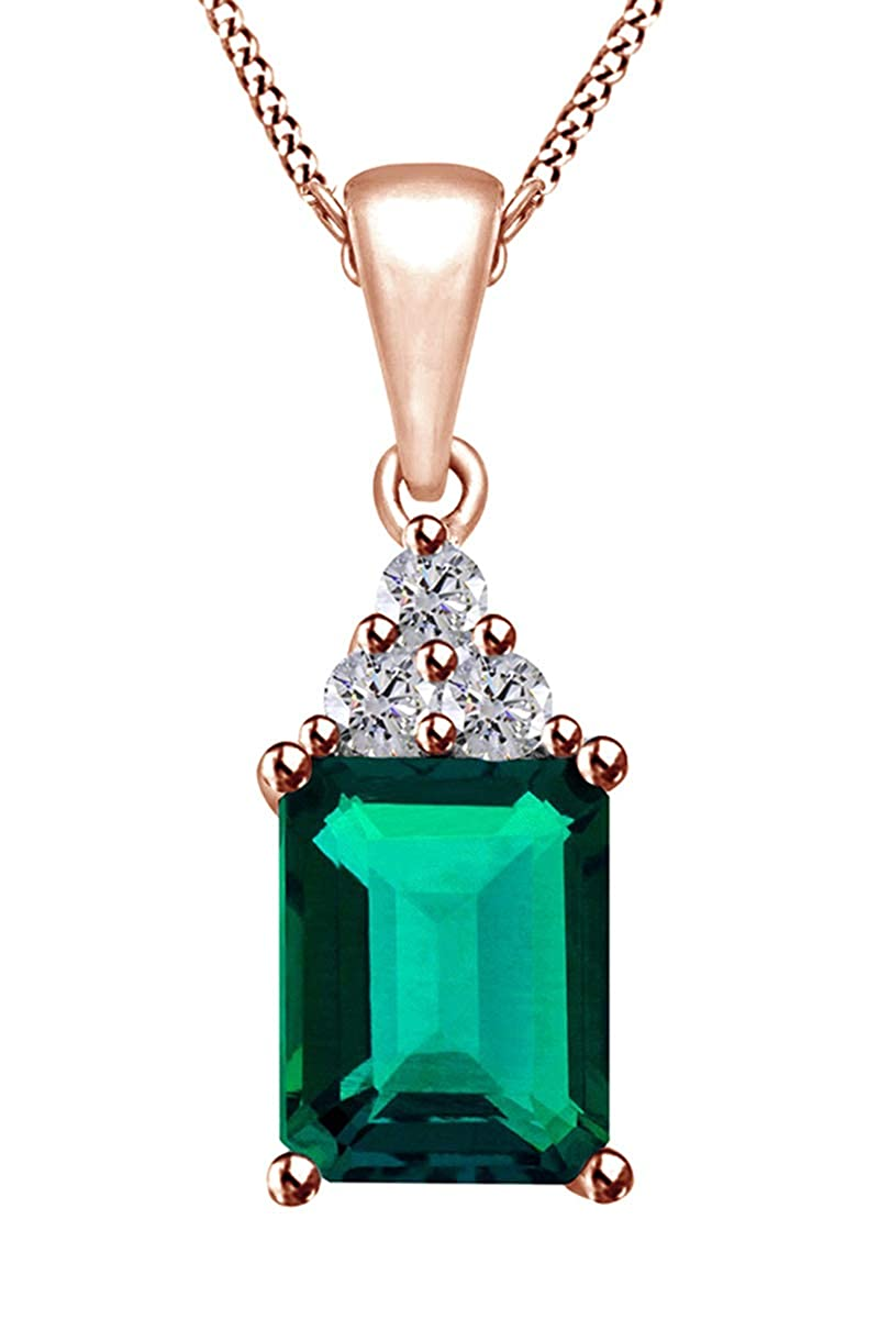 1.5 Ct Jewel Zone US Simulated Green Emerald /& White Topaz CZ Pendant Necklace in 14k Gold Over Sterling Silver