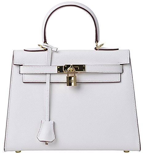 Women's Padlock Handbag Genuine Leather Taiga Top Handle Satchel Bag Cherish Kiss (28CM, white) by Cherish Kiss
