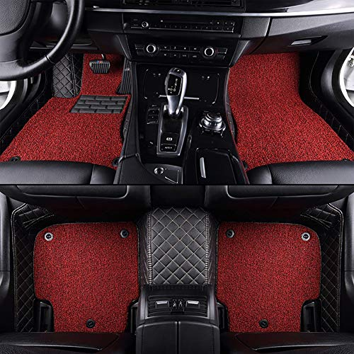 FENGWUTANG Tailored Carpet Car Floor Mats,Leather Non-Slip Front & Rear Luxury Set,BlackandRed