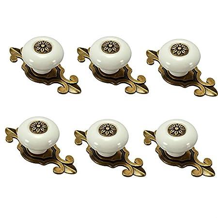 Fbshop(TM) 6 pomelli retro in ceramica per mobili, porta, credenza, guardaroba, comò, cassetti, porta armadio camera da letto e bagno, decorazione cameretta ecc. comò
