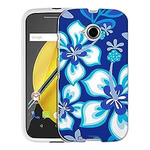 Motorola Moto E LTE Case, Snap On Cover by Trek Blue Hawaiin Flowers on Blue Case