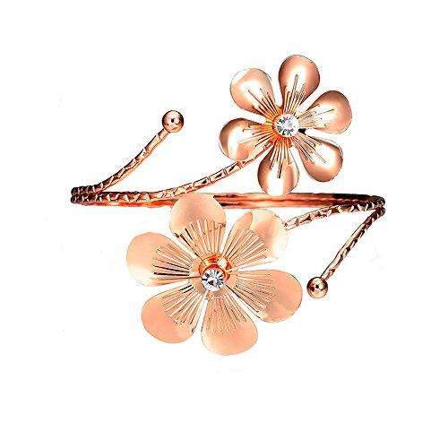 SENFAI 10K Gold Plated Swirl Upper Flower Arm Cuff Armlet Armband Bangle Bracelet for Womens (Rose Gold)