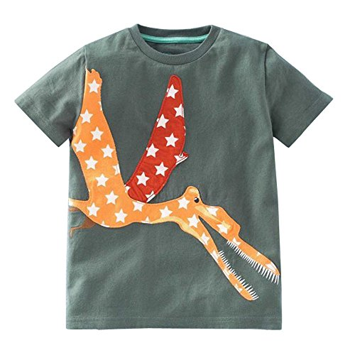 iYBUIA Simple Design Toddler Kids Baby Boys Girls O-Neck Clothes Short Sleeve Cartoon Tops T-Shirt Blous(Army Green,140)