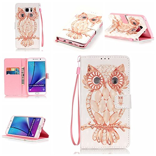 Galaxy Note 5 Case,Firefish [3D Printing] PU Leather Flip Folio Kickstand Wallet Case with Card Slots and Magnetic Closure Wrist Strap for Samsung Galaxy Note 5-Shell Owl Rose Bidet