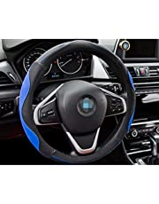 Car Steering Wheel Cover Leather, Universal 15 inch/38CM Breathable Anti-Slip Protector for Auto/Truck/SUV/Van Four Seasons Universal,Blue