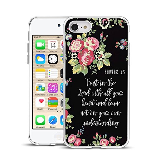 Shockproof Floral Pattern Soft Flexible TPU Back Cover Case Compatible with iPhone 5/5S/SE- Christian Quotes Proverbs 3:5 Pink Rose