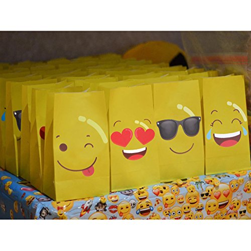 OurWarm 24 Pack Emoji Gift Bags Party Favor Bags for Kids Birthday Party Supplies and Decorations -