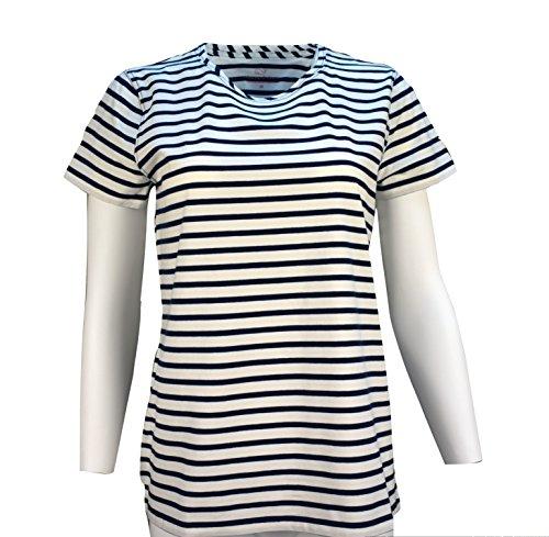 s SS Stripe Open Neck Tee Shirt (L-Large, Nautical Navy) ()