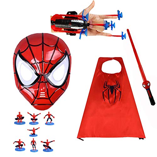 Children's Superhero Dress Up Set of 5 - LED Glowing Mask, Satin Cape, Sound and Light Sword, Launcher and 7 Dolls Red
