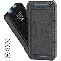 Solar Charger,WBPINE 13500mAh Solar Power Bank Waterproof Dual USB Portable Charger,Solar External Battery Charger with 2 LED Flashlight for iPhone,Camera,GPS,Hiking Camping and More