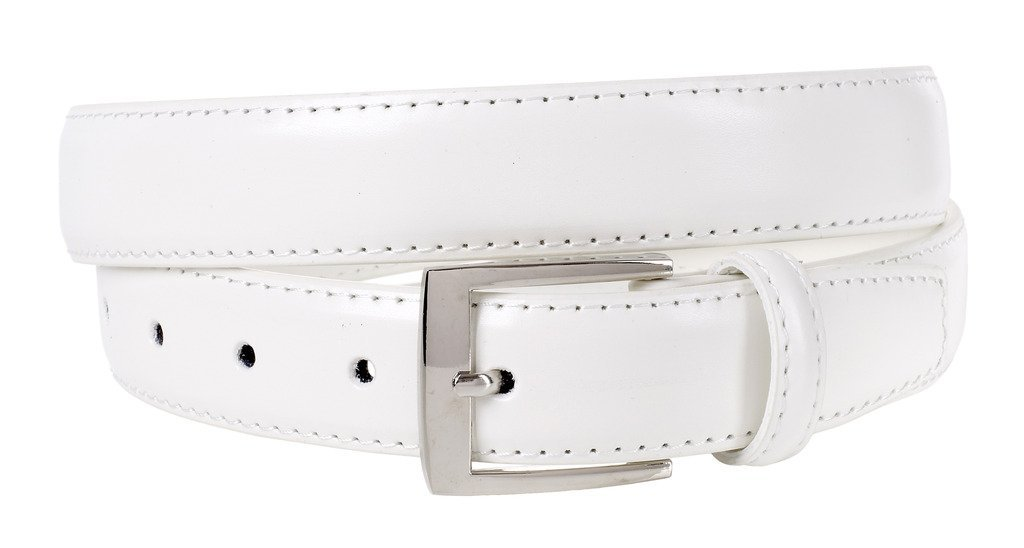 Sportoli Mens Classic Genuine Leather Metal Buckle Uniform Casual or Dress Belt - White (34)