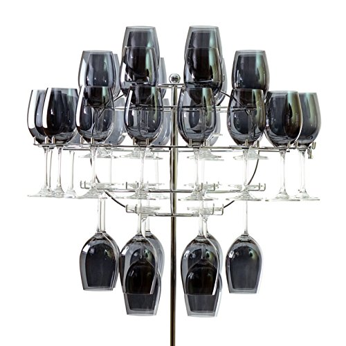 10 Strawberry Street Wine Glass Chandelier with Stand, Holds 40 Wine Glasses, Stainless Steel by 10 Strawberry Street