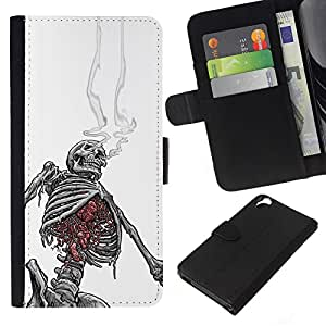 Leather Etui en cuir || HTC Desire 820 || Smoking Skeleton Skull Blanco Negro @XPTECH