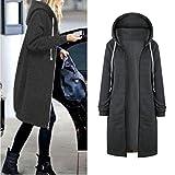 IEason Women Top, Women Warm Zipper Open Hoodies Sweatshirt Long Coat Jacket Tops Outwear (Gray, XL)