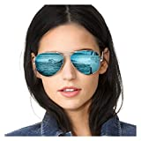 SODQW Aviator Sunglasses for Women Polarized Mirrored, Large Metal Frame, UV 400 Protection