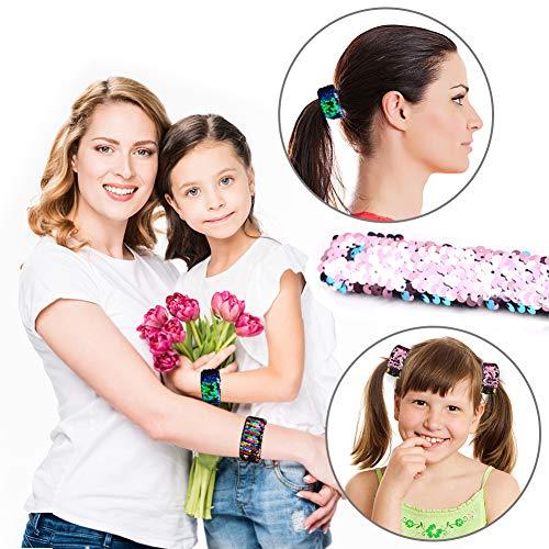 VGOODALL 12 PCS Glitter Slap Bracelet Kids Sequin Bracelet Mermaid Bracelet Flip Wristband Bracelet Kids Birthday Party Favors Supplies