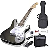 AW 39'' Full Size Electric Guitar Set for Beginners Starter with 10W AMP Gig Bag Strap Picks Black