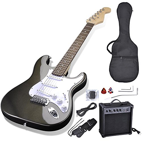 AW 39'' Full Size Electric Guitar Set for Beginners Starter with 10W AMP Gig Bag Strap Picks Black by AW